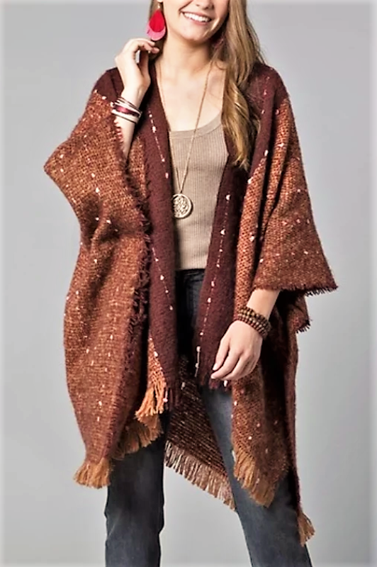 RUSTIC VICTORIAN INSPIRED PRETTY KIMONO OVERSIZED IN BROWN