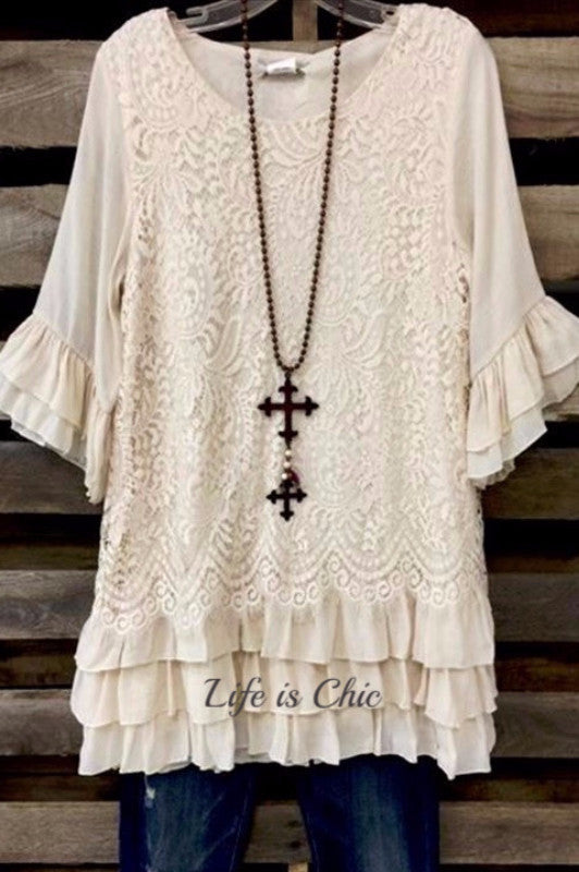 AIR OF ROMANCE LACE RUFFLE TUNIC BEIGE [product vendor] - Life is Chic Boutique