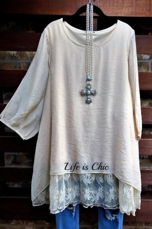 DREAM COME TRUE LACE TUNIC IN BEIGE