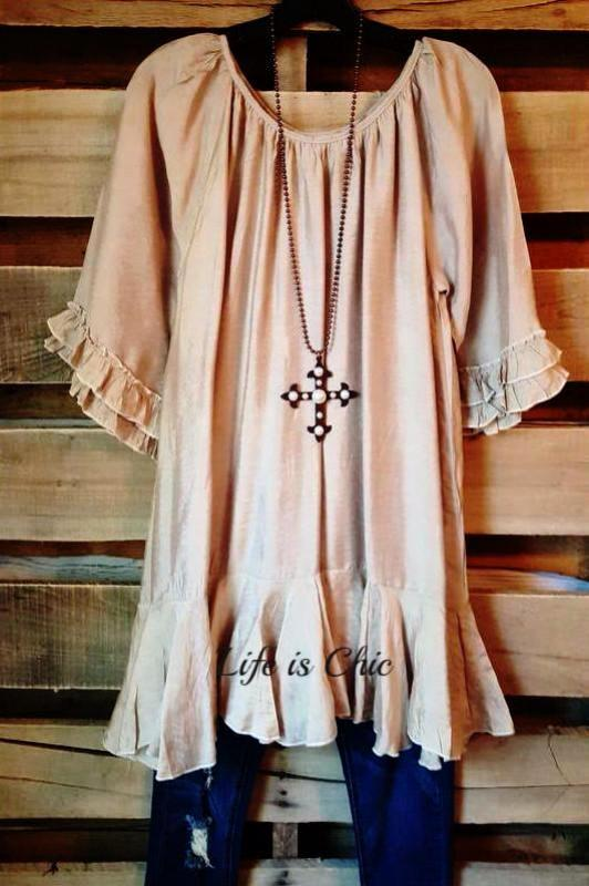 FREE SOUL GYPSY TUNIC - CHAMPAGNE [product vendor] - Life is Chic Boutique