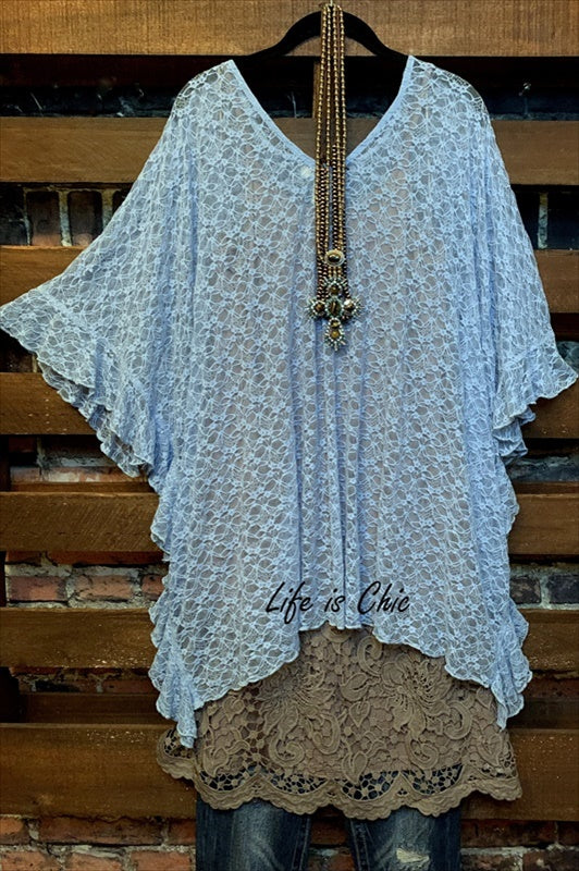 FOREVER MUSE LACE TUNIC IN BLUE