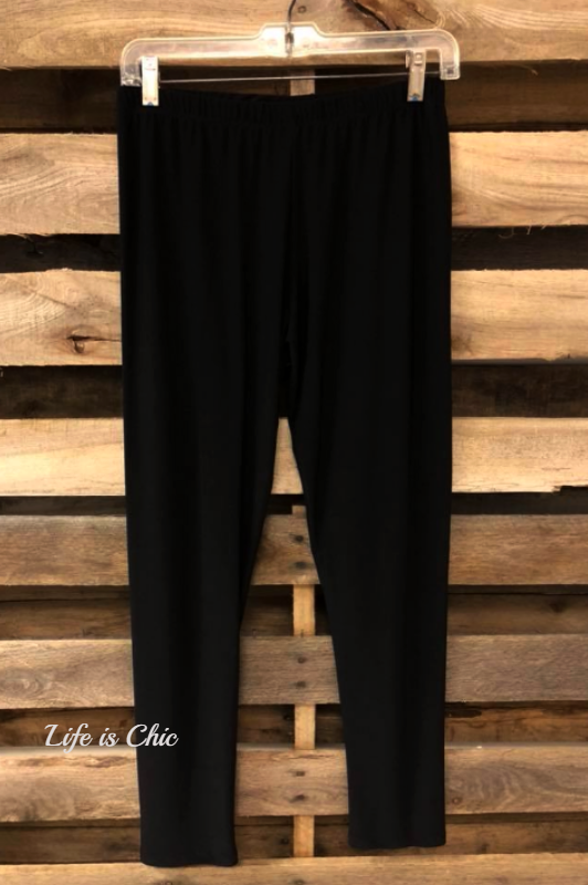 PLUS BRUSHED SOLID BLACK ANKLE LEGGINGS [product vendor] - Life is Chic Boutique