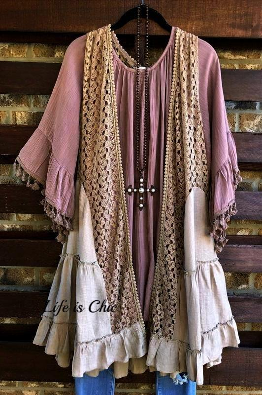 OUR ORIGINAL LOVE LACE VEST IN TAUPE