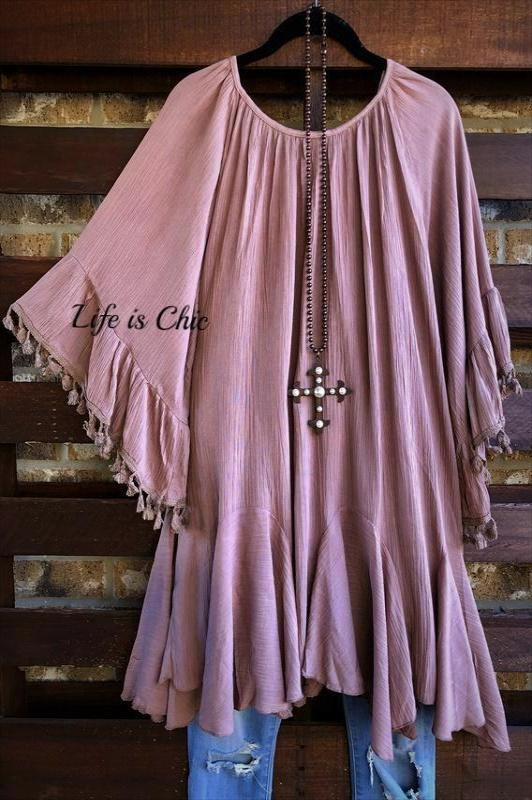 RUSTIC HIPPIE PEASANT OVERSIZED DRESS IN MOCHA