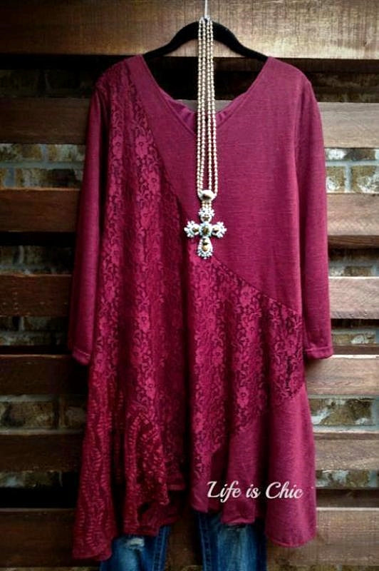 FEEL YOUR LOVE LACE STYLISH TUNIC IN BURGUNDY---------------------SALE