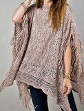 Breaking Free Fringe Tunic Poncho in Ash Taupe