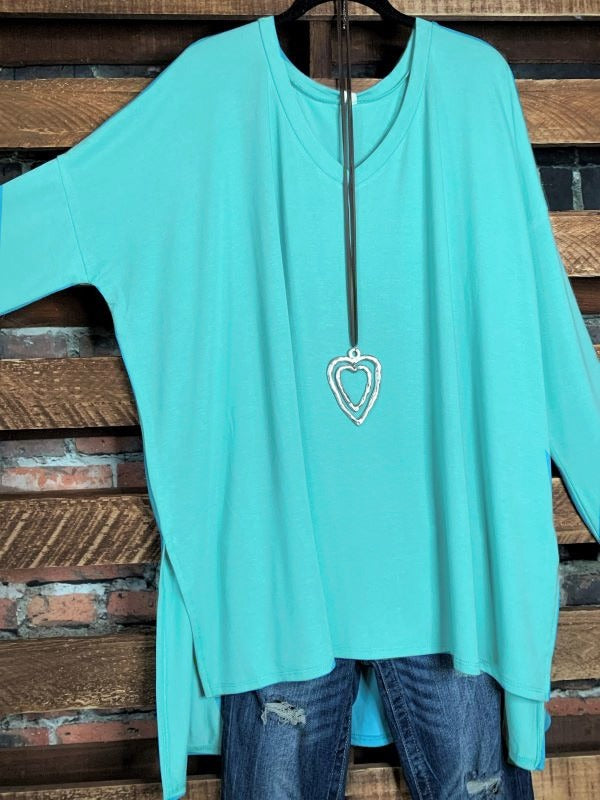 ALWAYS AND FOREVER LONG SLEEVE T-TUNIC IN MINT