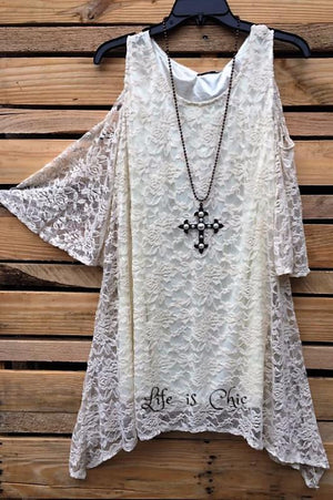 She's Dreamy Beige Lace Open Shoulder Tunic [product vendor] - Life is Chic Boutique