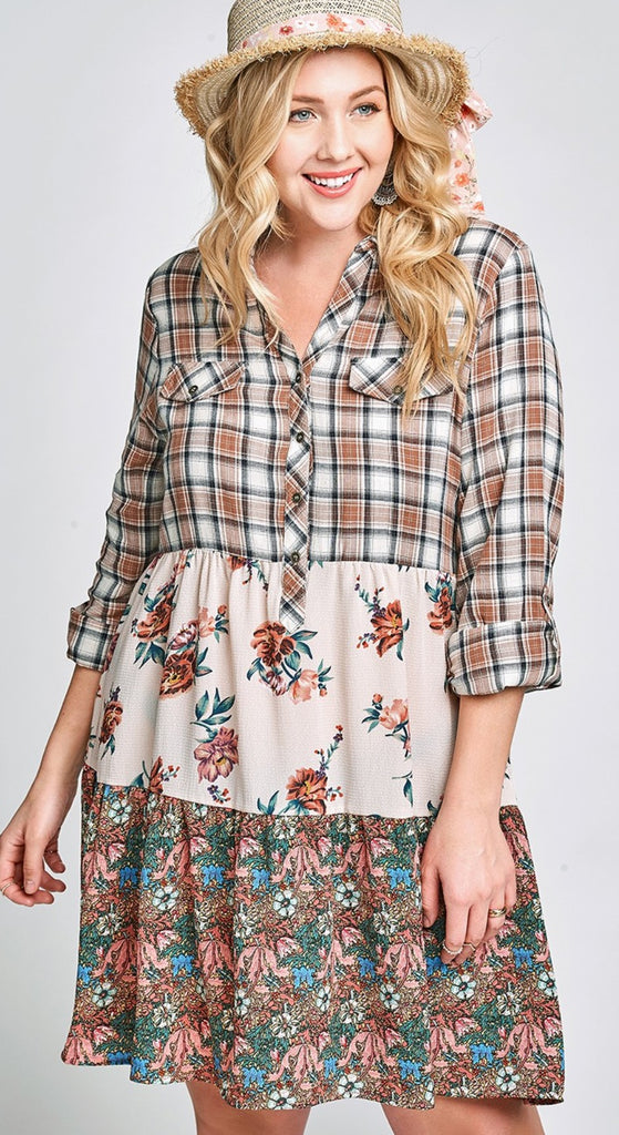 A FRESH START FLORAL & PLAID TIERED DRESS IN TAUPE & MULTI---------------sale