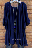 BOHO- HIPPIE SWING OVERSIZED TUNIC IN NAVY BLUE