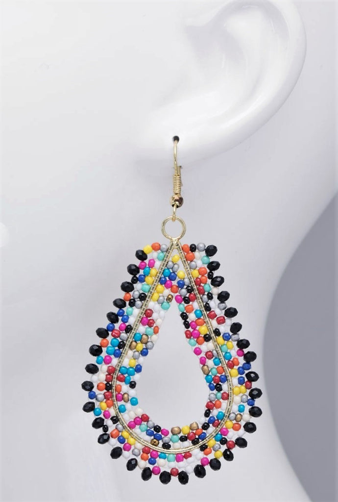 RAINBOW TEAR DROP MULTI-COLOR DANGLE EARRINGS