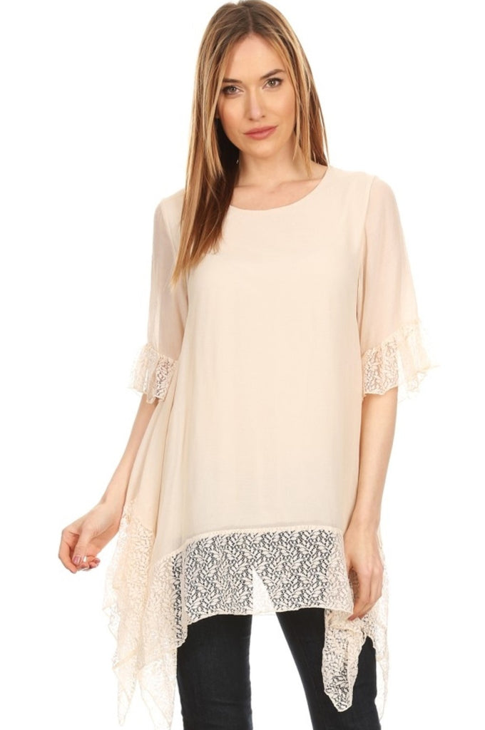 WONDERFUL DREAMS LACE TUNIC IN BEIGE
