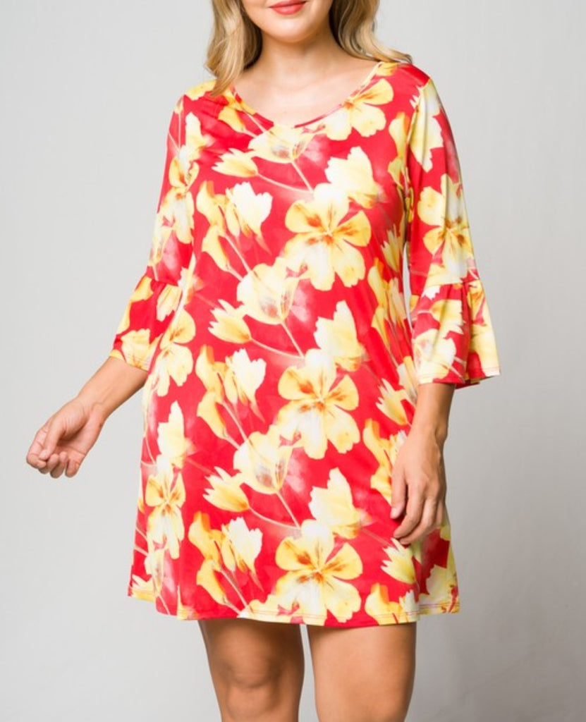 FOLLOW YOUR HEART RED CORAL FLORAL DRESS--------------sale