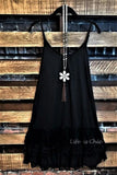 LOVE OF MY LIFE LACE SLIP DRESS EXTENDER SOLID BLACK