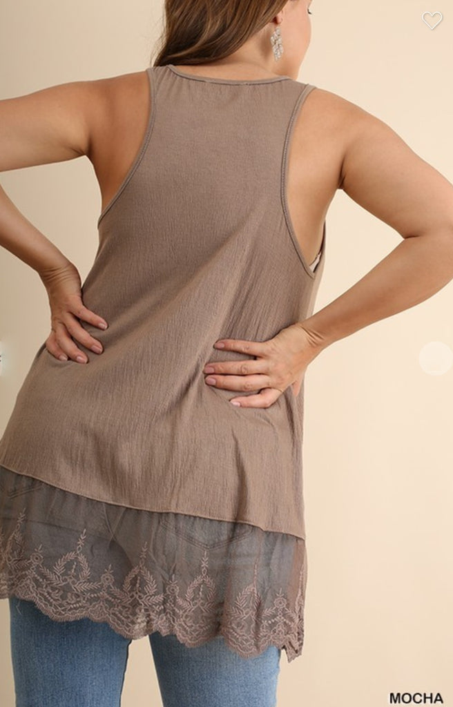 TOUCHED BY LOVE LACE TANK SLIP TOP IN MOCHA