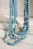 A FAIRYTALE GEMSTONE & WOOD BEAD LAYERED SHINNY GLASS NECKLACE IN BLUE SKY