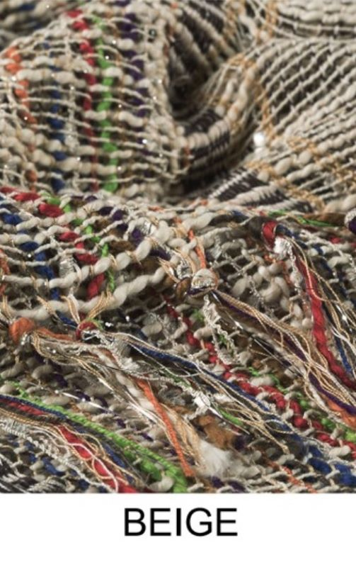 A Perfect Nashville Life Style Multi Color & Beige Yarn Dye Woven Scarf