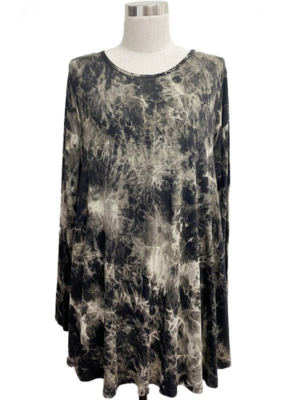 BEST WISHES TIE DYE TEE TUNIC TOP MULTI-COLOR 1X 2X 3X---------------SALE