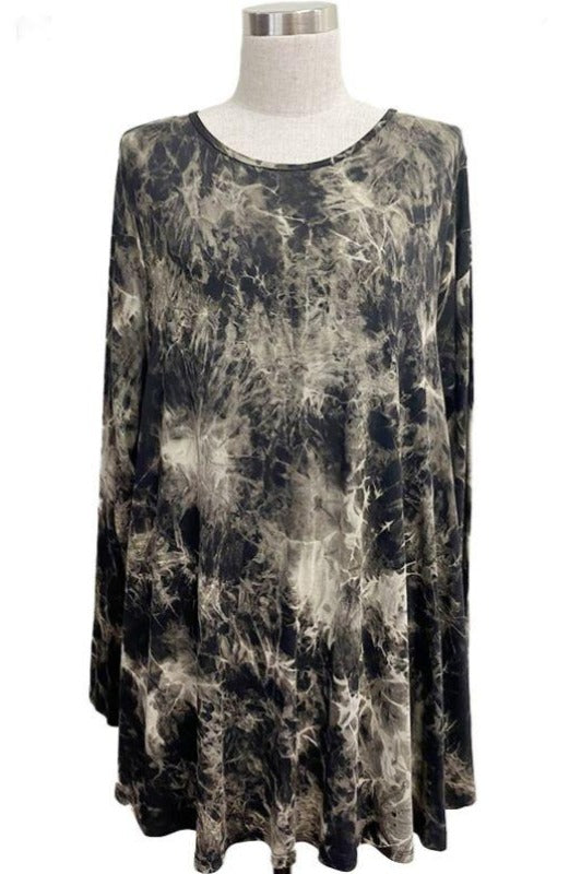 BEST WISHES TIE DYE TEE TUNIC TOP MULTI-COLOR 1X 2X 3X
