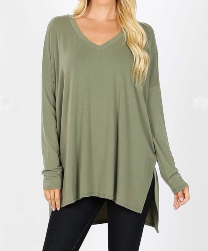 ALWAYS AND FOREVER LONG SLEEVE T-TUNIC IN OLIVE