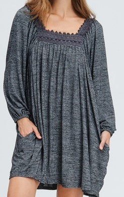 LOVE LIKE CRAZY COMFY OVERSIZED DRESS IN CHARCOAL