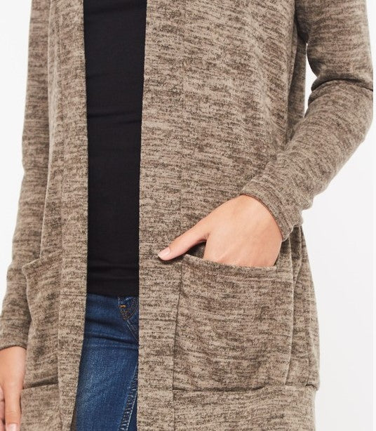Sweater Cardigan front open and pad packet in mocha PLUS SIZE  ----sale
