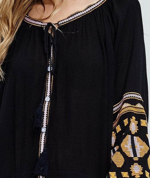 IMAGINE DREAM & BELIEVE BOHO TRIBAL EMBROIDERED DRESS IN BLACK