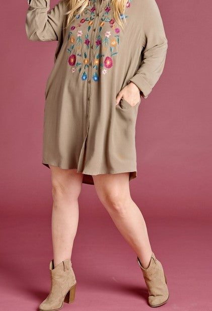 ALWAYS CLOSE TO MY HEARTH PRETTY EMBROIDERED DRESS IN OLIVE