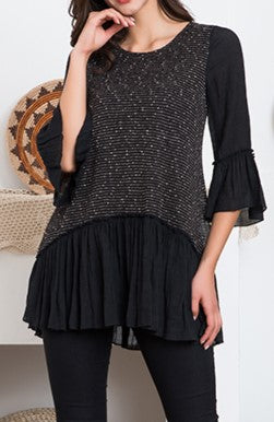 ANY EVENT CHARMING TIMELESS BLACK BLOUSE