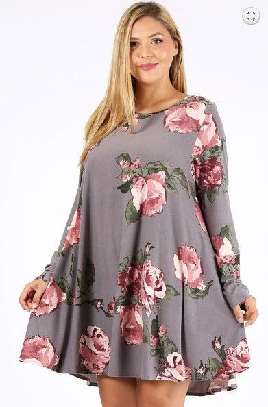 FLORAL SWEATER DRESS IN GRAY 3X 4X 5X-----------------------sale