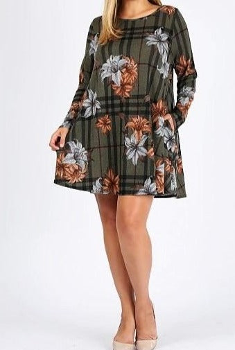 You Are My Forever Floral Sweater Dress in Olive