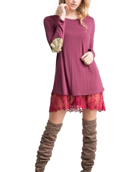 FOREVER MINE PRETTY LACE LAYERING DRESS EXTENDER IN BERRY