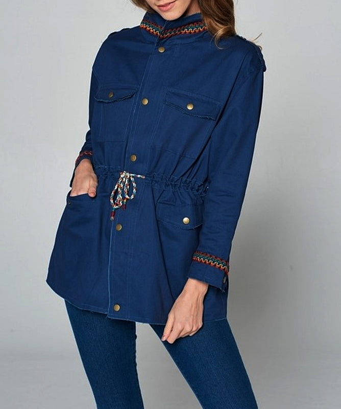 GYPSY BOHO EMBROIDERED SHABBY JACKET IN NAVY BLUE----------sale