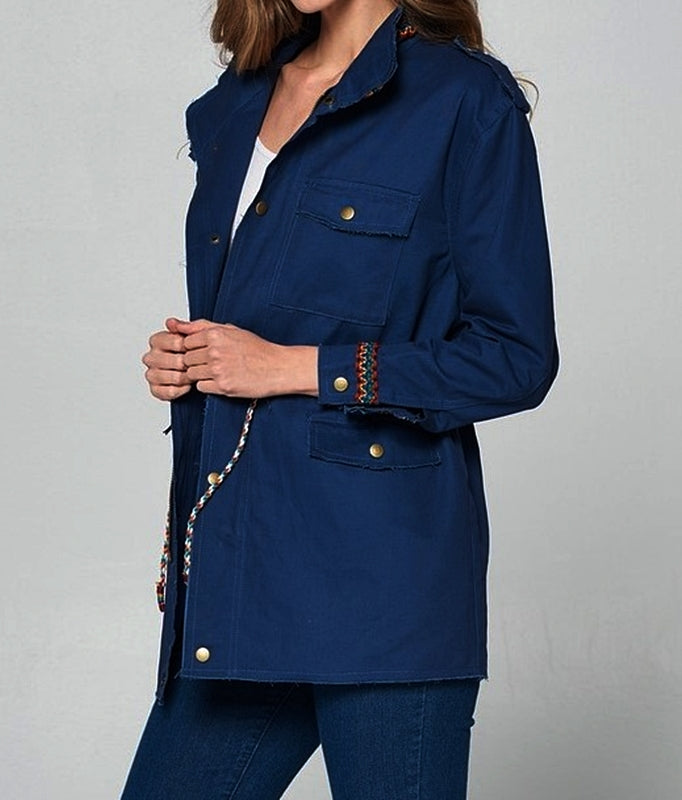 GYPSY BOHO EMBROIDERED SHABBY JACKET IN NAVY BLUE