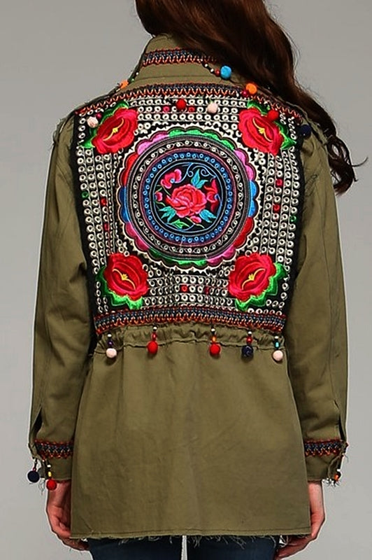 GYPSY BOHO EMBROIDERED SHABBY JACKET IN IN OLIVE -----------sale