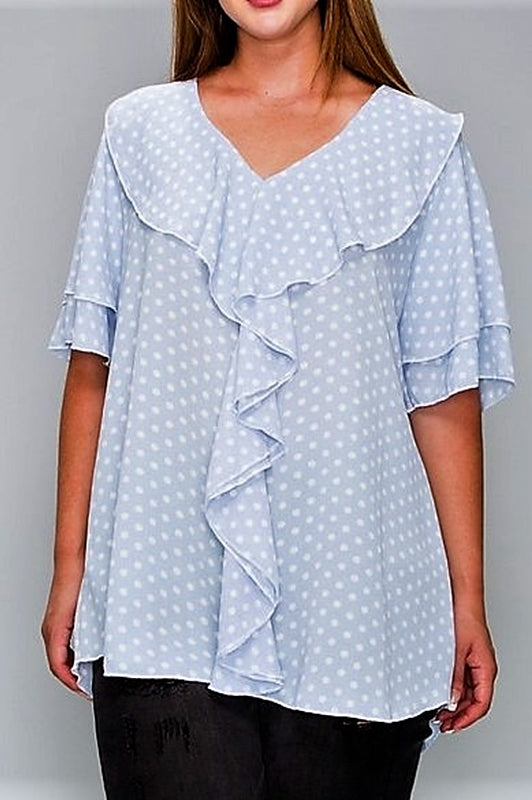 CLASSIC & ROMANTIC POLKA DOT RUFFLE BLOUSE IN LIGHT BLUE 1X 2X 3X