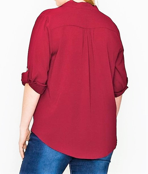 CLASSIC ANYTIME TOP BLOUSE IN BURGUNDY