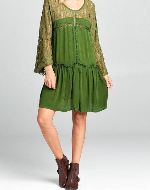 LOVED BY ME LACE DRESS IN OLIVE Size 6-12------------sale