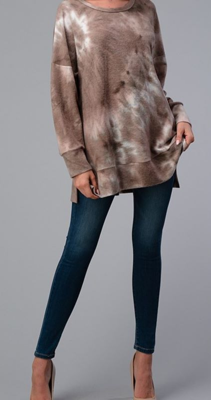 GRACEFUL SIMPLICITY HACCI COZY PULLOVER TIE DYE TUNIC IN MOCHA