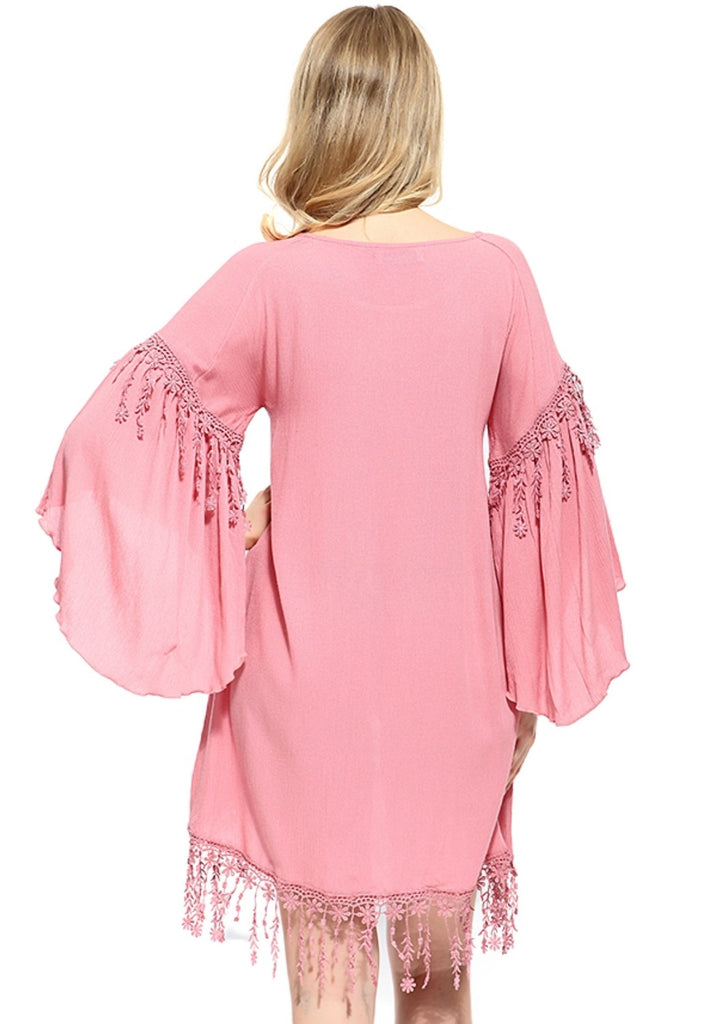 SECRETS OF THE HEART FLORAL FRINGE TUNIC IN BLUSH