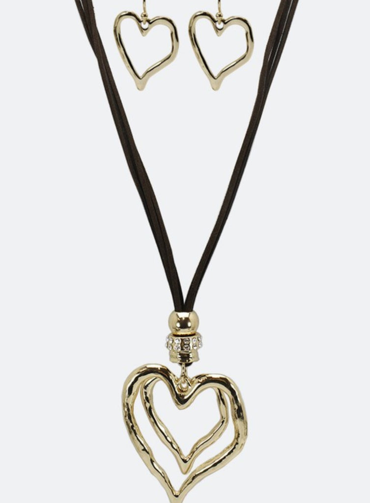 HEART ON HEART NECKLACE & EARRING SET GOLD COLOR