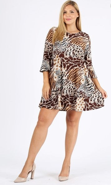 SUCH A CHARMER ANIMAL PRINT DRESS IN BROWN & MULTI-COLOR