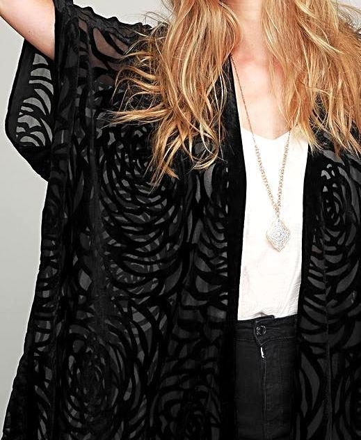 AS CHARMING IS EVER LACE DUSTER KIMONO IN BLACK