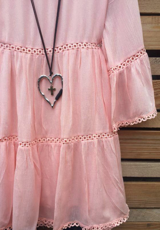 ALL THE PRETTY THINGS LACE TRIM DRESS . PEACH [product vendor] - Life is Chic Boutique