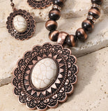 MANDALA TALISMAN NATURAL STONE NECKLACE SET IN BRONZE & HOWLITE WHITE