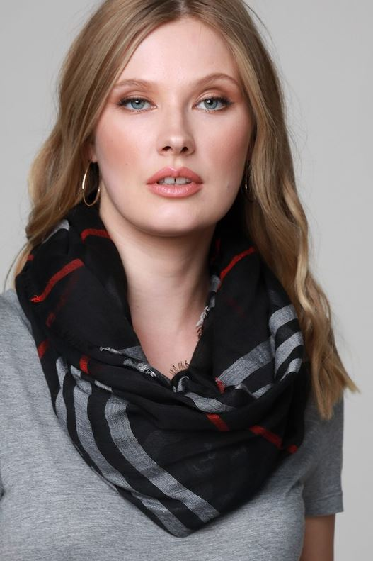 STYLE IT UP WITH THIS GAUZY LIGHTWEIGHT SCARF IN BLACK MIX
