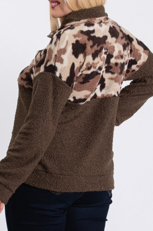CHASING STARS CAMO PRINT FAUX FUR SWEATER IN BROWN