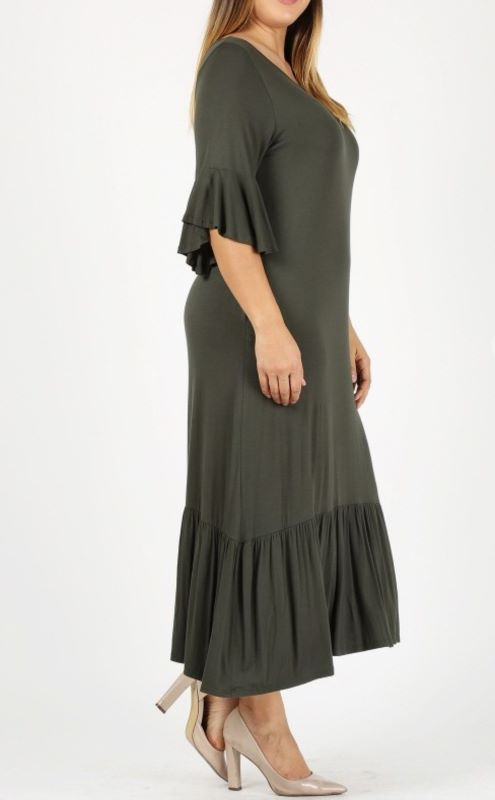 DEFINE COMFORT & DARLING MAXI DRESS IN OLIVE