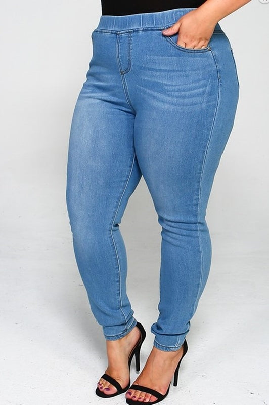 ON MY WAY PLUS SIZE HIGH WAIST DENIM JEGGINGS PANTS IN LIGHT BLUE