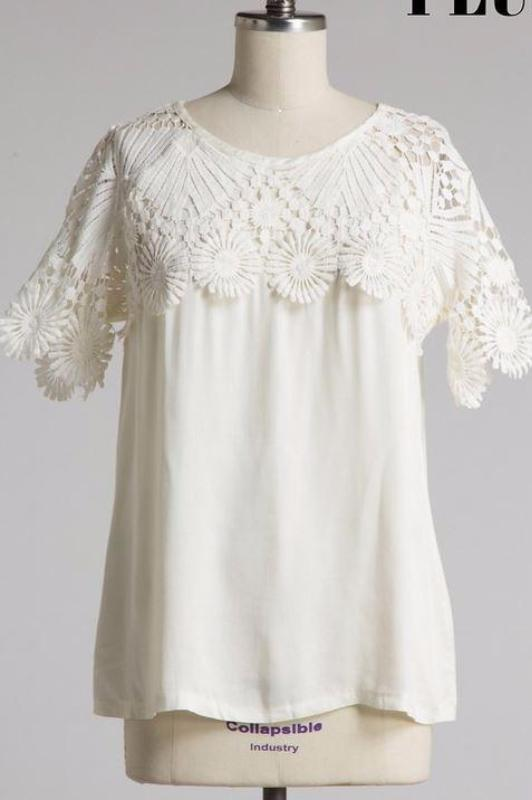 LOVELY LACE FLORAL CREAM TOP/BLOUSE - SALE [product vendor] - Life is Chic Boutique